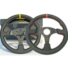 Universal 13inch Leather Suede Steering Wheel With Horn Button Red/Yellow Stitching Auto Sport Game Steering Wheel 330mm