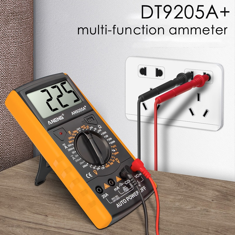 Dt9205a + multímetro digital/dc profesional transistor tester esr ncv medidor de teste elétrico analógico gama automóvel multimetro 1 pces
