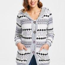 Wipalo Autumn Winter Women Women Hooded Sweaters Button Up Geometric Cardigan Fashion Long Hooded Sweaters New