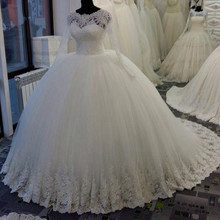 New Arrival Long Sleeve Lace 2018 Ball Scalloped Beaded Applique Puffy Bridal Gowns robe de mariage