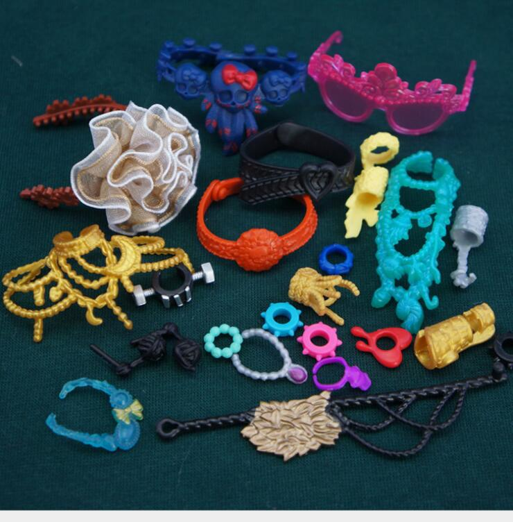 Monstering High Doll Accessories Decors Necklace Glasses Headbands <font><b>Belts</b></font> Kids Playing House Doll Decors Girl Party Gift Favors image
