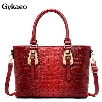 Gykaeo, bolsos de lujo para mujer, bolsos de diseñador de piel sintética, Moda bolso de mano de calle para mujer, bolsas de mensajero con patrón de cocodrilo