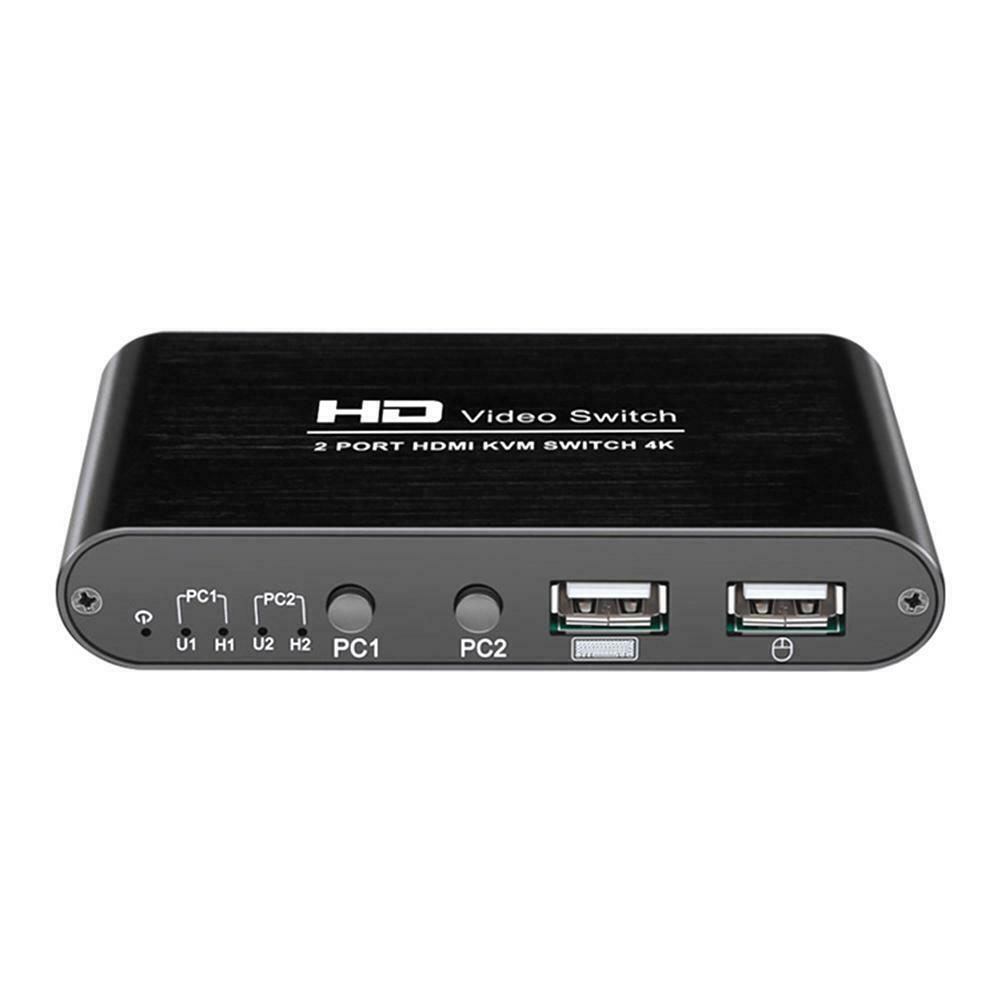 2 Port HDMI Switcher Multimedia Audio Mini Mice KVM 4K Home Video High Speed For Sharing Monitor Keyboard Mouse Plug And Play