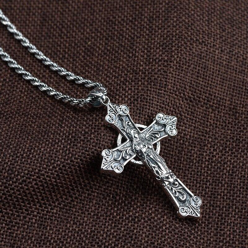 925 argent Sterling croix catholique pendentif vierge marie hommes femmes avec pierre de grenat naturel rétro Punk bijoux religieux - 2