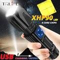 Mächtigsten XHP90 LED Taktische Taschenlampe 26650 Zoom Taschenlampe USB Camping Licht Wasserdichte Ausgang Mit Boden Angriff Kegel-in LED-Taschenlampen aus Licht & Beleuchtung bei