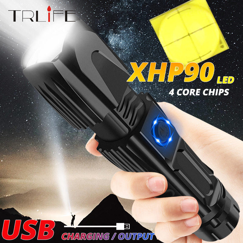 Most Powerful XHP90 LED Tactical Flashlight 26650 Zoom Torch USB Camping Flash Light Waterproof Output With Bottom Attack Cone