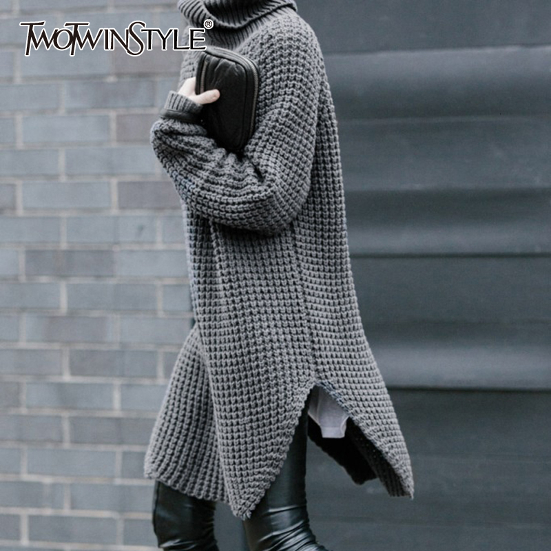 TWOTWINSTYLE Korean Side Split Women's Sweater Turtleneck Long Sleeve Warm Thick Female Sweater 2020 Autumn Winter Fashion New