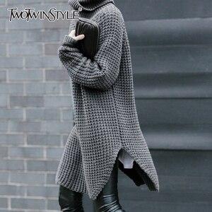 Image 1 - Twotwinstyle韓国側分割女性のセータータートルネック長袖暖かい厚手の女性のセーター2020秋冬ファッション新