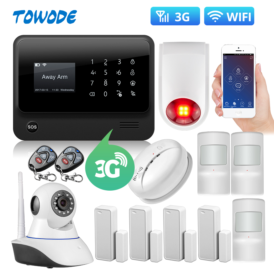 Towode DIY G90B Plus 3G GSM WIFI Smart Remote Control Top Home Security Fire House Alarm System With IP Alarm Host