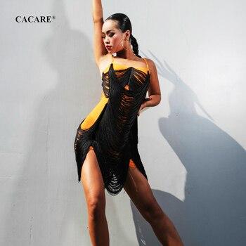 CACARE Fringed Dress 2019 SALE Latin Dance Dress Women Latina Salsa Latin Dance Competition Dresses D0684 Tassel Hem 3 Choices