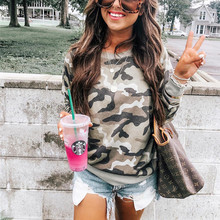 купить Casual Camouflage Print Hoodies Pullovers Women Autumn Long Sleeve Sweatshirt Tops Crew Neck Kawaii Hoody Tracksuits Felpa Donna дешево