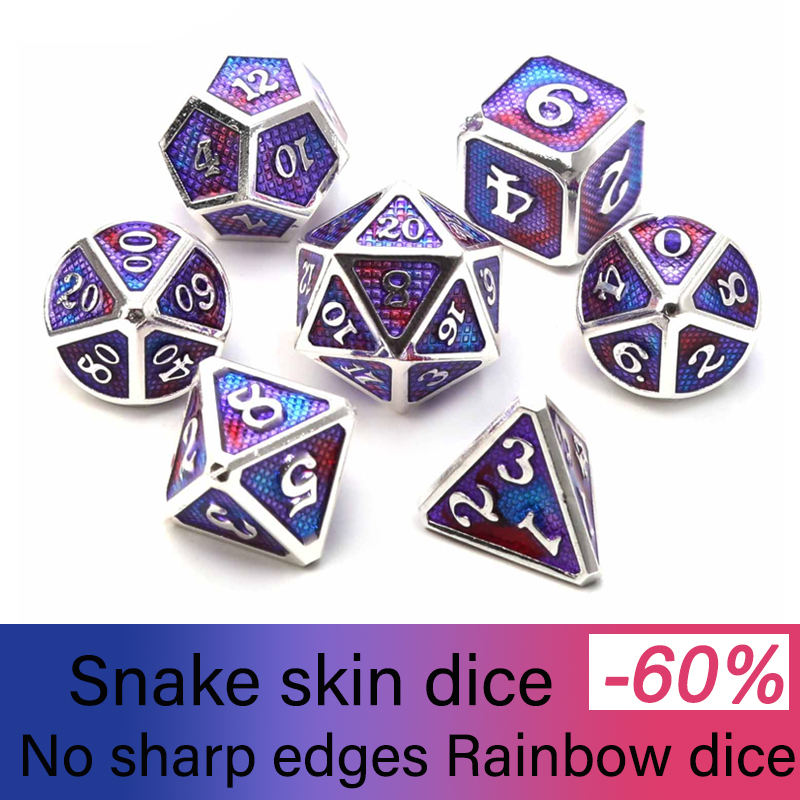 Chengshuo Dragon Scales Metal Dice Double Color Dnd Set 7pcs Polyhedral Rpg For Dungeons And Dragons Zinc Alloy Dices Table Game