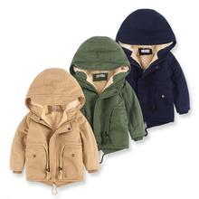 Jacket Girls Coat Boys Winter Children's New Plush And Cotton Hooded Windbreaker Medium-Length