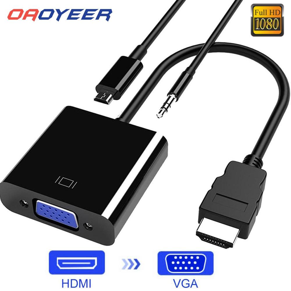 Кабель-переходник HDMI-VGA «Папа-мама», преобразователь для PS4 1080P, цифро-аналоговое видео, аудио для ПК, ноутбука, планшета