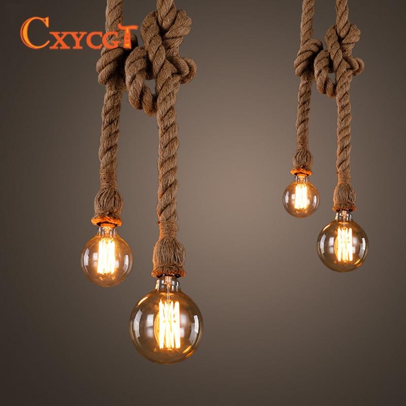 Retro Vintage Style Rope Pendant Light Loft Industrial Single/Double Head Support E27 Edison Bulb For Living Room