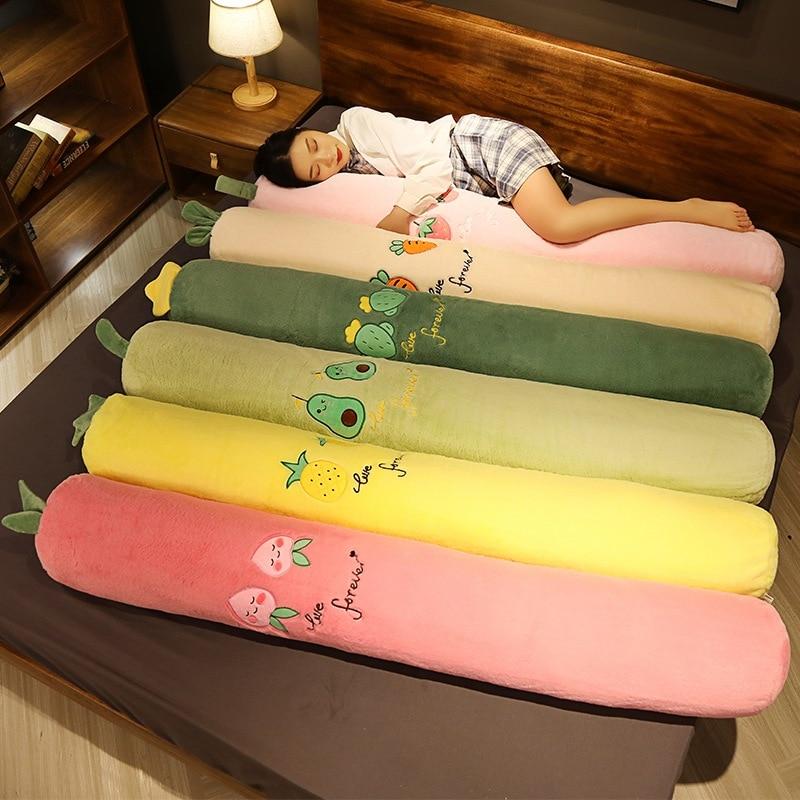 100cm-160cm Soft Fruits Plush Long Pillow Peach Pineapple Strawberry Avocado Plush Toy Stuffed Plant Cactus Carrot Cushion Doll
