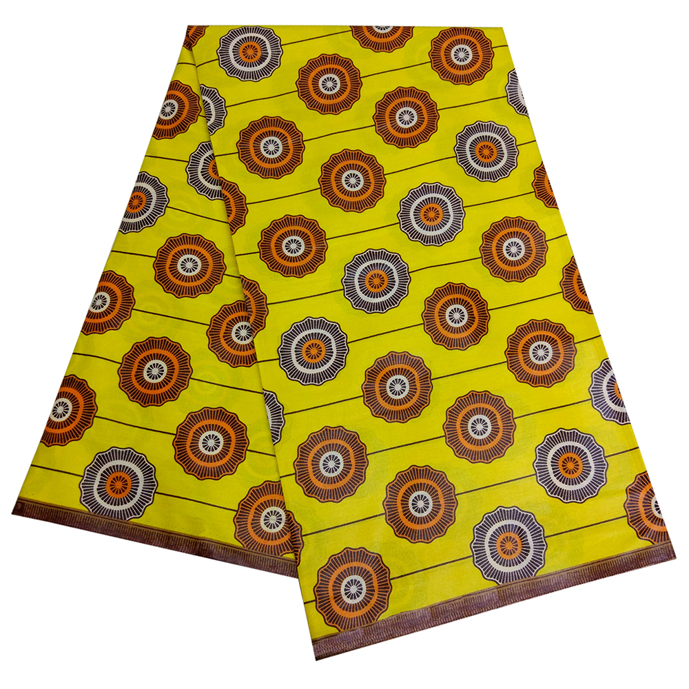 2019 Fashion Circle Print Stripe Yellow African Wax Fabric African Real Dutch Wax
