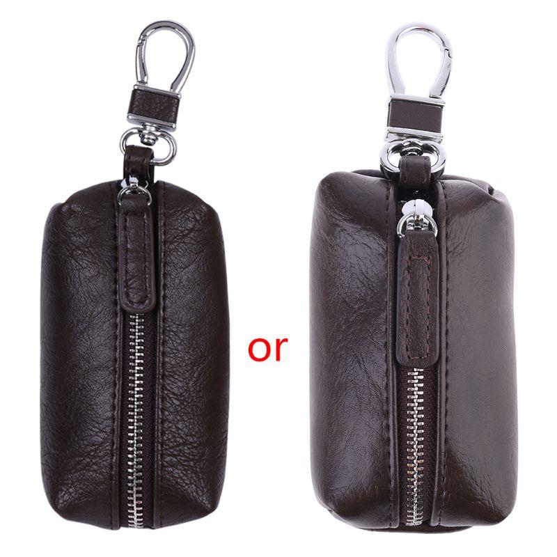 Men PU Leather Key Wallets Zipper Key Purse Unisex Car Key Holders Buckle Key