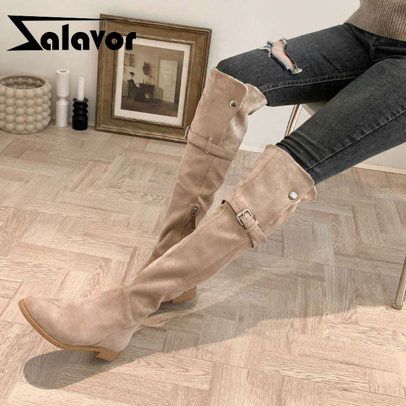 ZALAVOR Woman Chunky Heel Winter Ankle Boots Zipper Casual Sexy Motorcycle Boots Platform Round Toe Shoes Woman Size 34-43