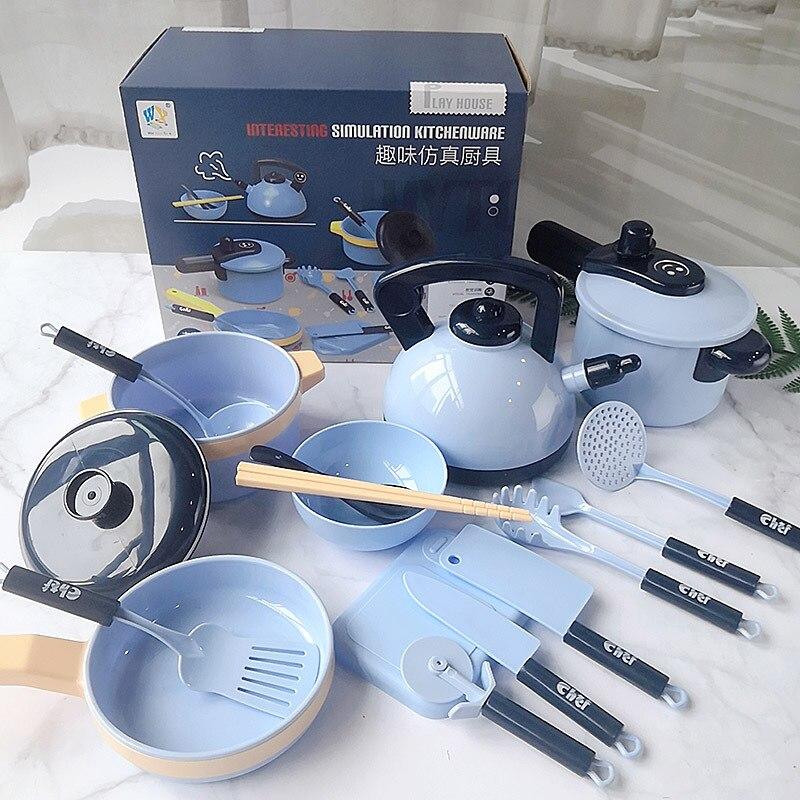 16 Pieces Children Kitchen Toy Cookware Pot Pan Kids Pretend Cook Play Toy Simulation Kitchen Utensils Toys Children Girls Gift