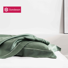 Sondeson Luxury Pure Nature 100% Silk Green Pillowcase Embroidery 25 Momme Healthy Skin Hair Pillow Case For Women Men Gift