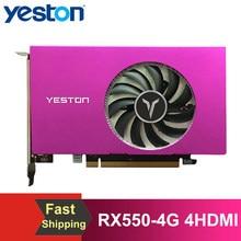Yeston RX550-4G 4 HDMI 4 ekran grafik kartı destek bölünmüş ekran 10bit renk derinliği HDR 4G/128bit/GDDR5 4 HDMI bağlantı noktaları