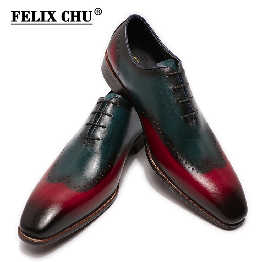Large Size Handmade Mens Wingtip Oxfords Whole Cut Blue & Red Genuine Calf Leather Luxury Wedding Men Dress Shoes Business Man