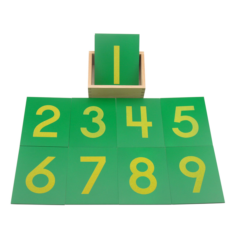 Montessori Math Toys Wooden Sandpaper Digitals Numbers 0-9 Green Board With Beech Wood Box Toys For Children Preschool Education