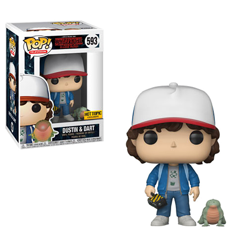 FUNKO POP Stranger Things Character Dustin & Dart 593 # Hot Topic Action Figures Model Doll Toys For Children Christmas Gifts