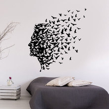 Man Birds Romantic Flying Freedom Vinyl Home Decor Wall Stickers Mind Cool Decoration Wall Decals Removable Murals 4322 cool flying