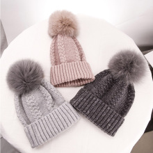 Real Fox Fur Pom Pom Ball Hats Women's Winter Beanie Hat Knitted Fashion Warm Wool Hat Ladies Solid Pink Female Outdoor Caps cn rubr hot 2017 fashion winter warm neck wrap fox scarf caps cute children wool knitted baby shawls hooded cowl beanie caps