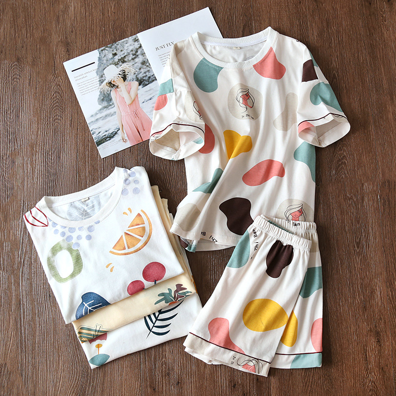 Summer New Knitted Cotton Round Neck Short Sleeve Pajamas Shorts Printing Sleepwear Loungewear 2 Piece Women Wear Home Clothes
