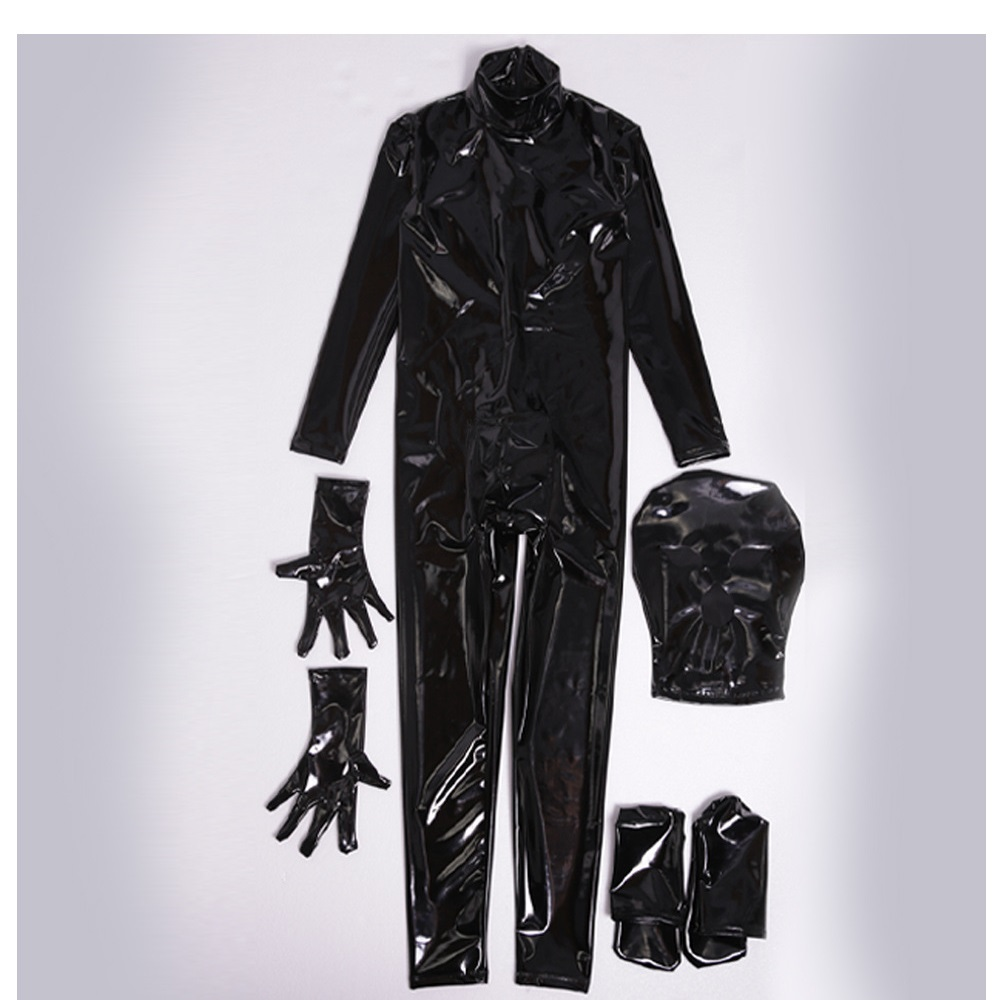 Plus Size 4 Piece Set One-Piece Tights Temperament Stage Props Costumes PU Latex Garment Footman Zentai Sexy Stage Mirror Outfit