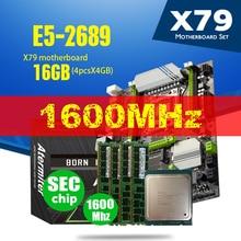 X79 turbo placa mãe mainboard lga2011 atx e5 2689 cpu 4x4gb = 16gb ddr3 reg ecc ram 1600mhz pc3 nvme m.2 ssd usb jogo de computador