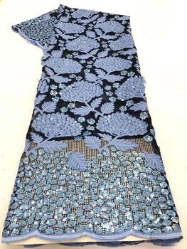 Nigerian Lace Fabrics African Lace Fabric 2020 High Quality Lace with Sequins French Lace Fabric for Dress latest N r18-15