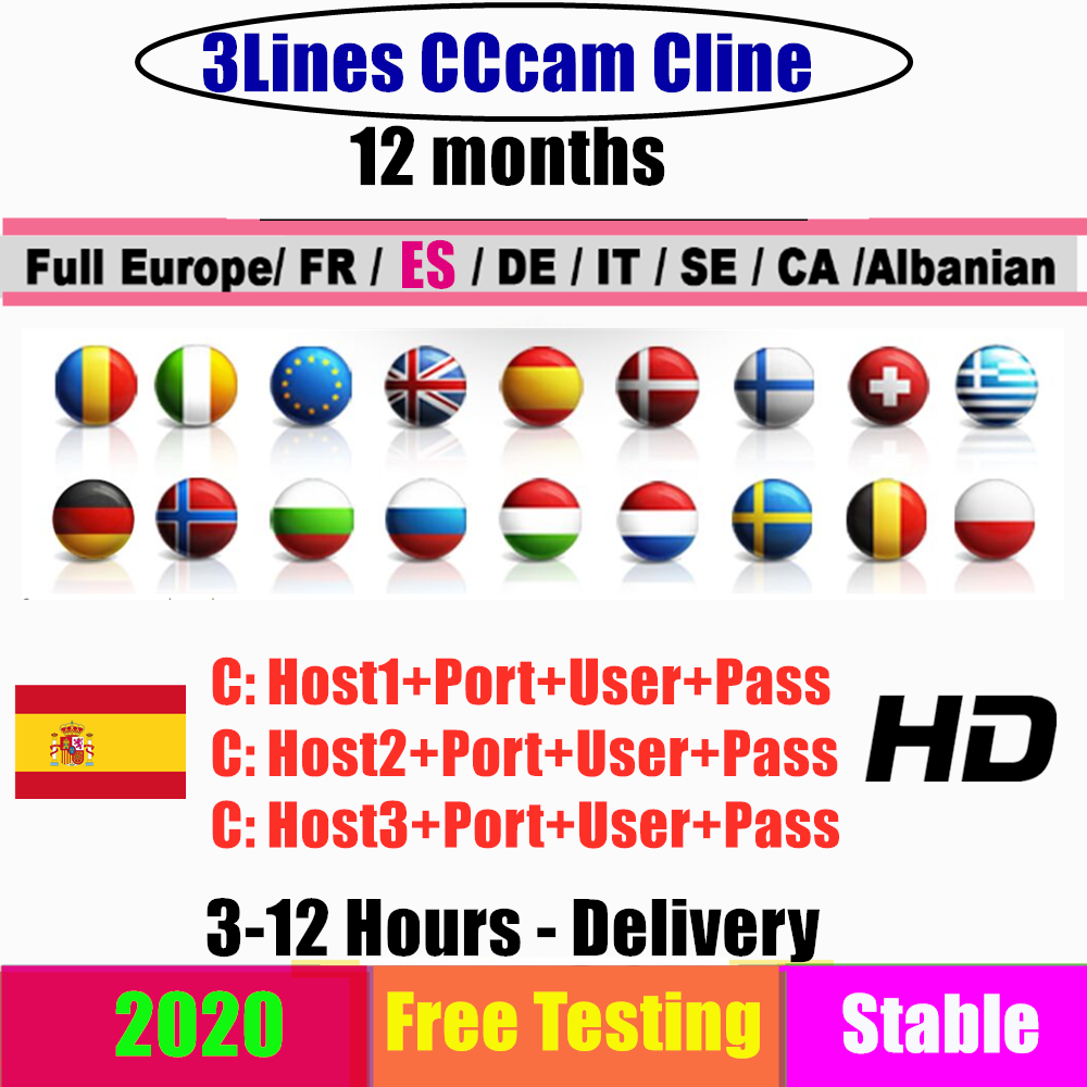 Stable 3 Lines CCCAM Clines For 1 Year Europe Cccam ESPA A Spain Portugal Poland Stable Server Oscam Germany Receptor Satellite