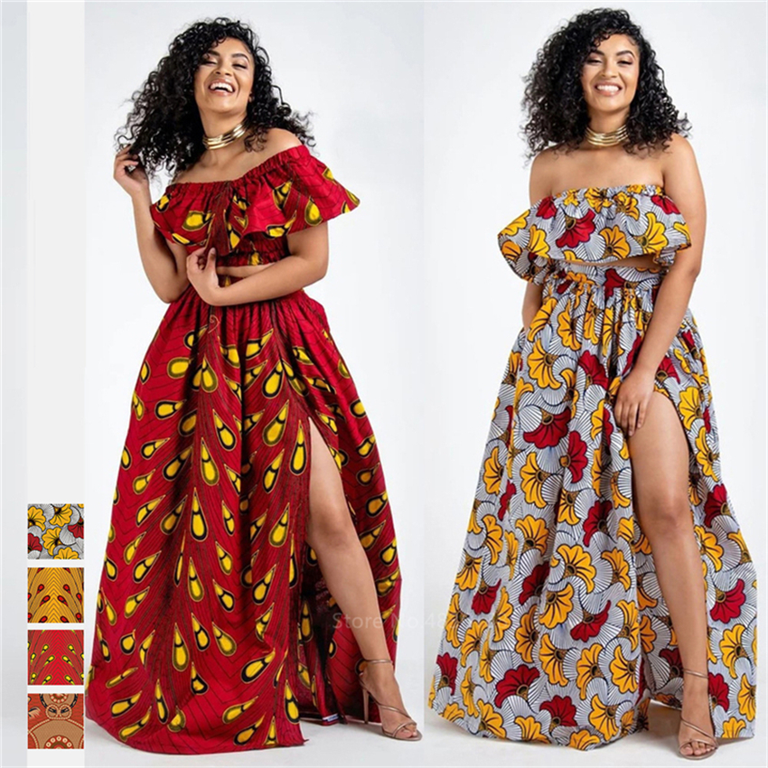 2020 News Ankara Style African Clothes Dashiki Print Top Skirts Fashion Feather Party African Dresses for Women Robe Africaine
