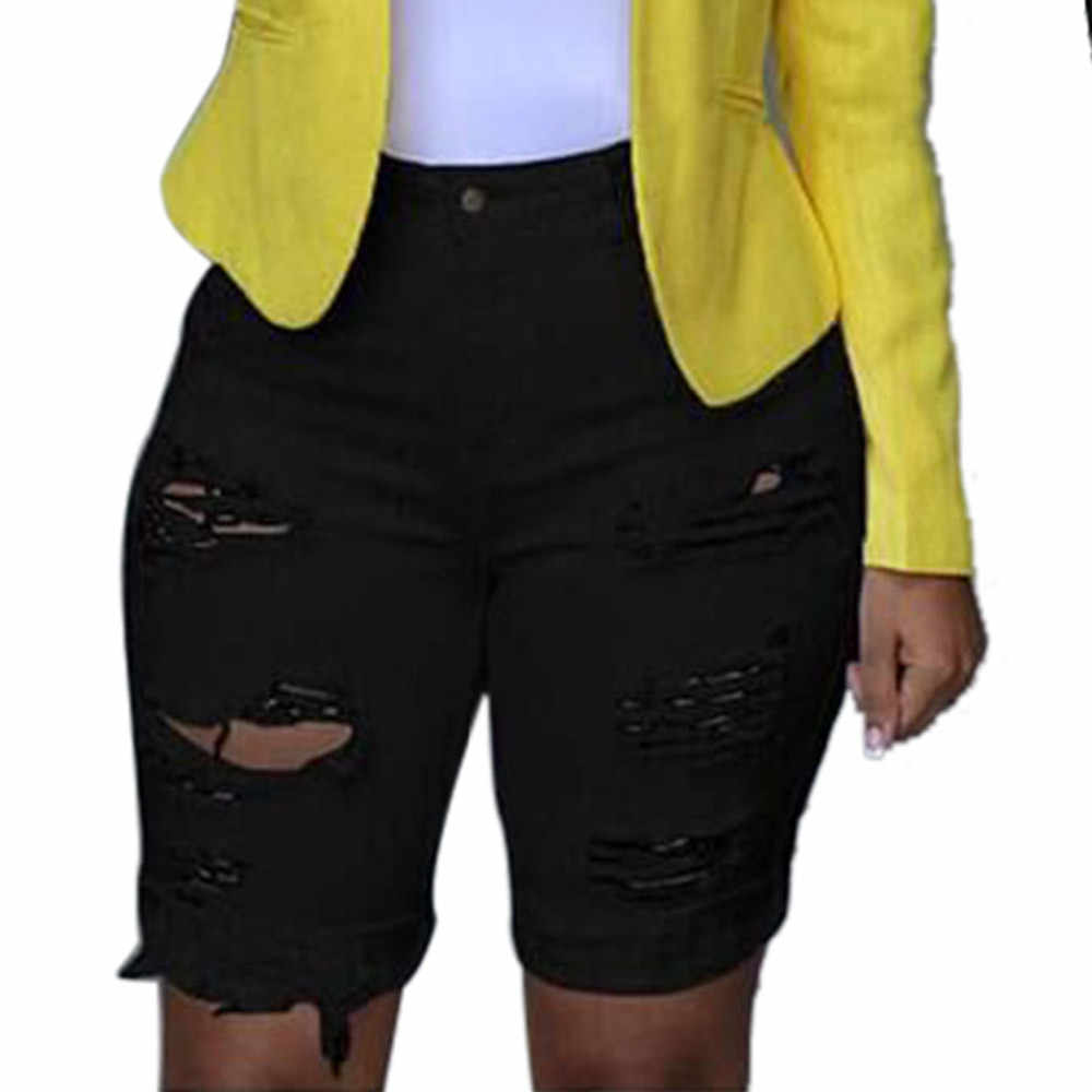 Jeans Pria Pakaian 2019 Ripped Jeans Mujer Elastis Menghancurkan Lubang Legging Celana Pendek Denim Celana Pendek Skinny Jeans untuk Wanita