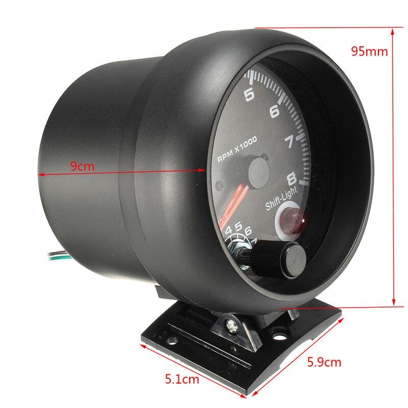 0 ~ 8000 tr/min rétro-éclairage LED blanc tachymètre jauge 95mm/3.75in fonctionne sur 4 6 8 cylindres moteurs universels pour véhicule à essence 12V - 2