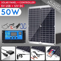 LEORY 50W 18V Dual USB Solar Panel with Cigarette Lighter + 10/20/30/40/50A USB Solar Charger Controller Solar Cells for Outdoor