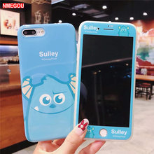 3D Cute Cartoon Big Eye Monsters Monocular Sulley Mike Silicone Phone Case + Glass Film for IPhone X XS 8 7 6 6s Plus Soft Cover(China)