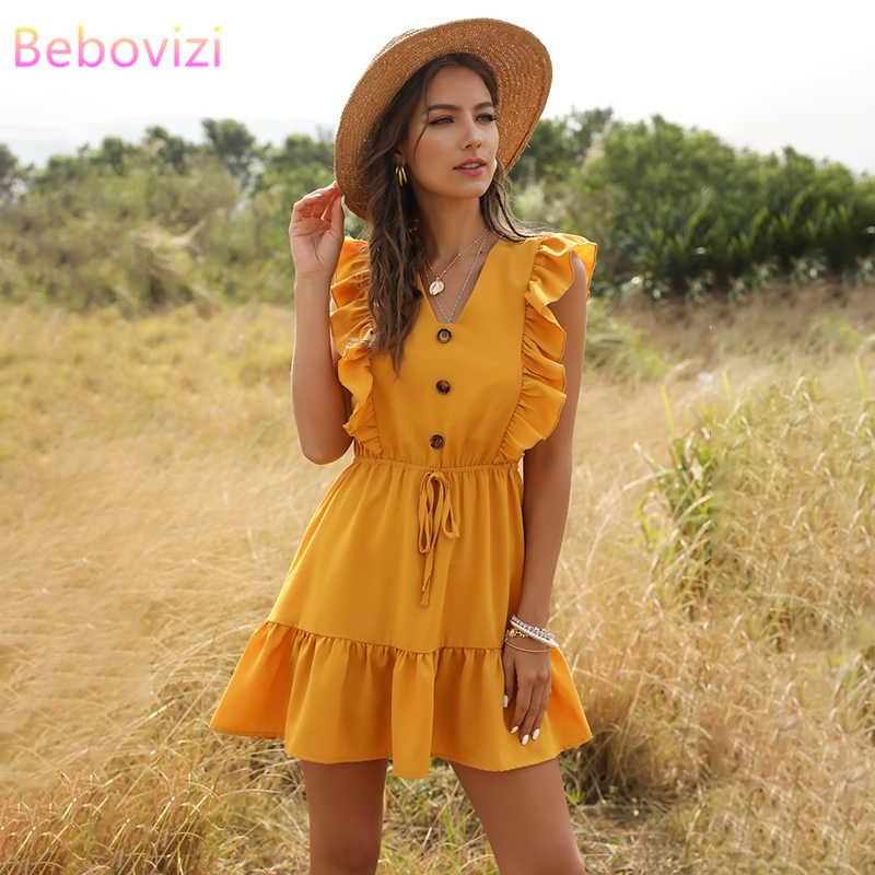 Yeni seksi sarı yeşil kırmızı pembe bayan elbise fırfır tunik yüksek bel V boyun rahat plaj yaz Mini elbiseler zaraing kadın 2020