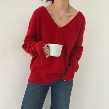 Ailegogo New 2020 Autumn Winter V-Neck pullover Warm Women Sweaters Fashion Sexy Casual Korean Style Female Jumpers SW7113 1