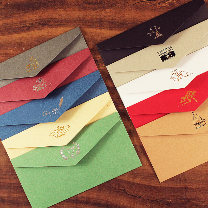 10pcs/lot European Vintage Hot Stamping Printing Kraft Paper Envelopes Envelope For Wedding Letter Invitation 110mmX220mm