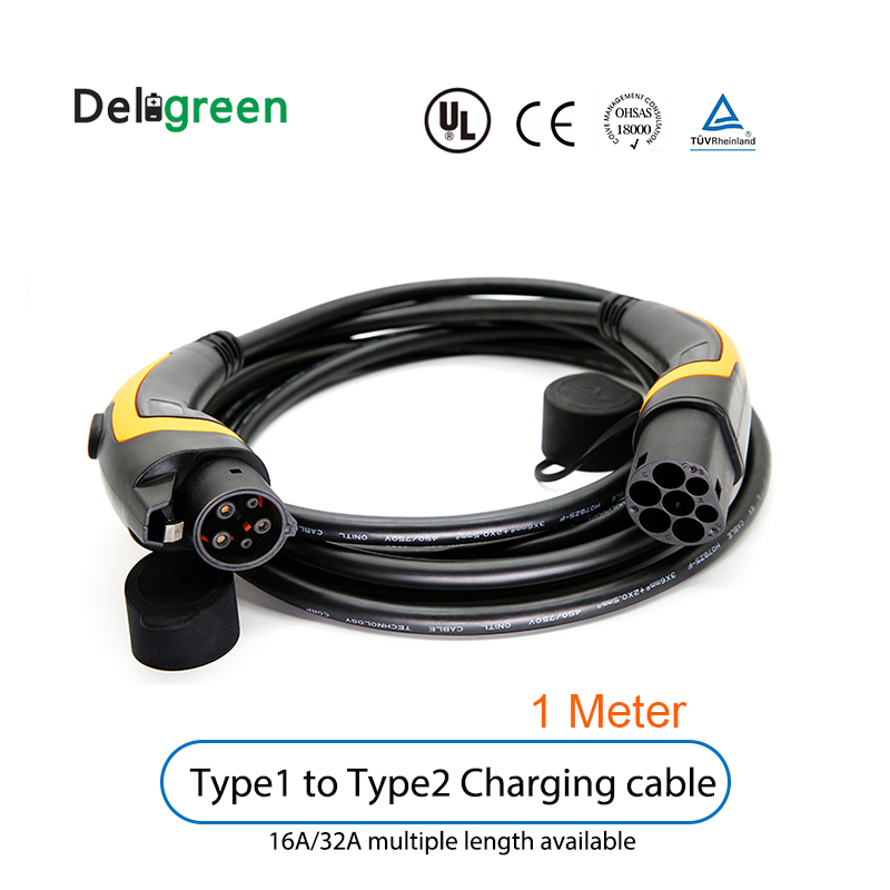 EV Charging Cable 32A Type 1 To Type 2 J1772 To IEC62196 Ev Plug With 1 Meter Cable TUV/UL Single Phase With Bag