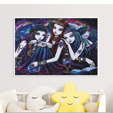 DIY Diamond Painting Full Square Drill Fairy Witch Sisters Beautiful Girl Mosic  Embroidery Kit Home Decoration Gift