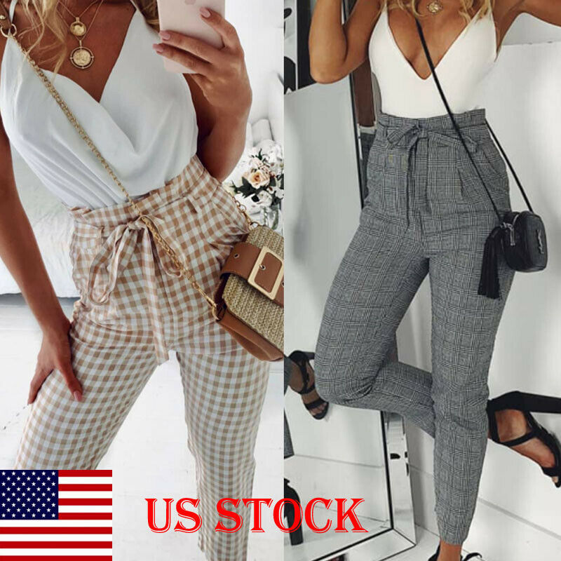 US STOCK Women Casual Long Length Sashes High Waist Belt OL Office Long Pencil Pants Check Plaid Trouser