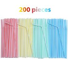 200pc słomki plastikowe 8 cali długości i wielu kolorowy w paski Bedable jednorazowe słomki Party wielobarwne Rainbow słomy #45 tanie tanio CN (pochodzenie) Z tworzywa sztucznego