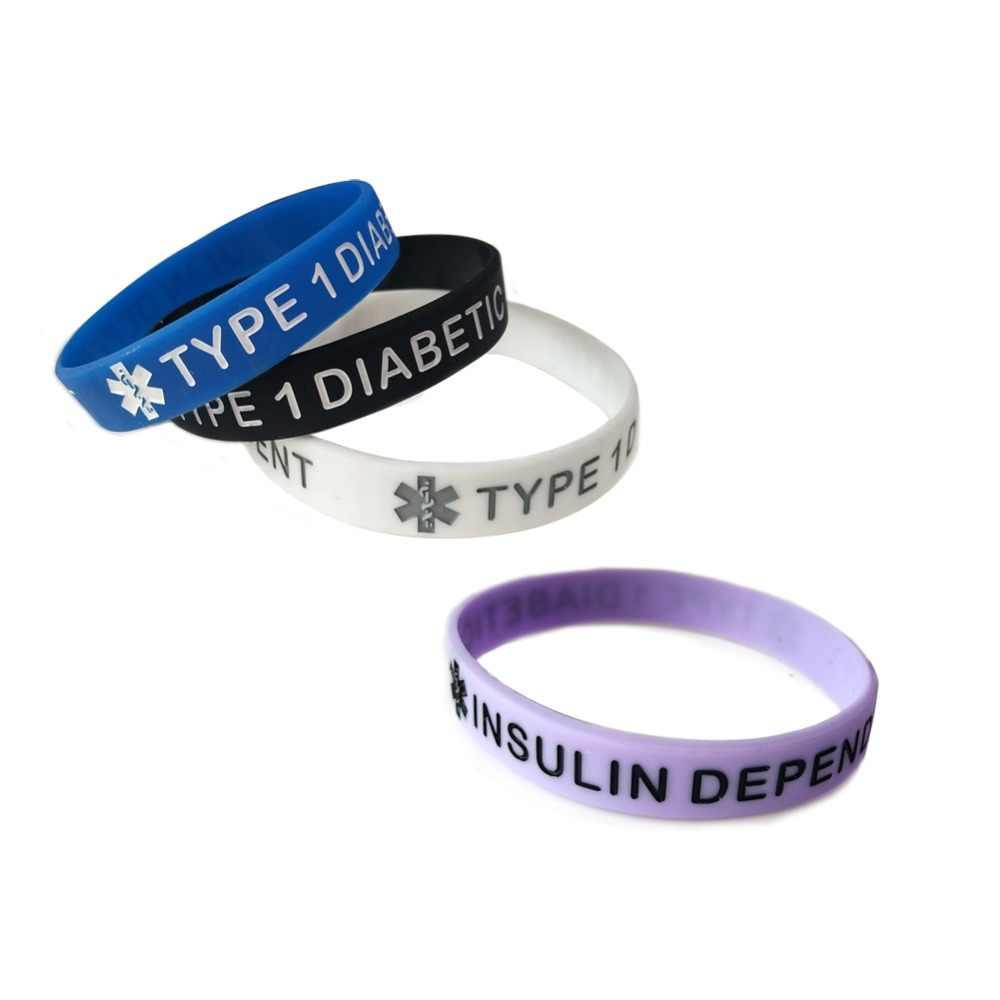 LISTE & לוק סוג 1 וסוג 2 סוכרתי סיליקון גומי רפואי התראת חירום מזהה צמיד צמיד לנשים גברים