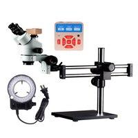 Simul Focal Double Boom Stand Trinocular Stereo Zoom Microscope 28MP HDMI Camera Ring Light Microscopio 7X 45X micro scope